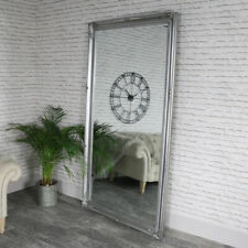 Extra large ornate silver wall floor leaner mirror vintage chic living room hall