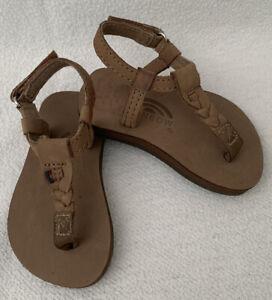 RAINBOW Brand NWOB Brown Infant Toddler Flip Flops Sandals 3/4 Back Strap $34