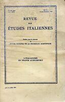 REVUE DES ÉTUDES ITALIENNES 1-4 JAN DÉC. 1984 L'ITALIANISME EN FRANCE