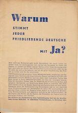 Warum stimmt jeder friedliebende Deutsche mit Ja Propaganda DDR Wahlen 1951
