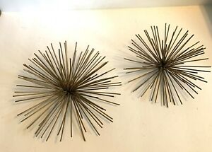 Vintage MCM Curtis Jere Sputnik Brass Sea Urchin Wall Hangings True To Era
