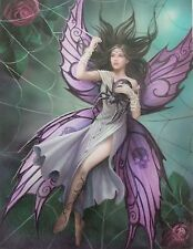 Silk Lure Plaque / Unicorn Fantasy Canvas Picture/Mystic Dark Fairy with Spider
