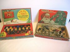 2 Antique 1920's Noma Electric Christmas Lights w/ Santa Claus Boxes~1 works