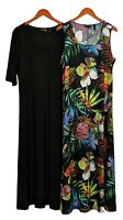 Attitudes by Renee Dress Sz XL Set of 2 Printed & Solid Maxi Black A375406