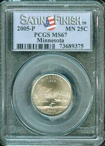 2005-P MINNESOTA STATE QUARTER SATIN FINISH 25 CENTS PCGS MS67 BU UNC COIN #F