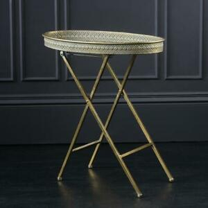 Benedict Oval Tray Table Gold Iron 68 x 33 x 64 Home Bar Dining Room Industrial
