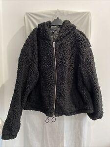 NEW LOOK Black Hooded Teddy Jacket Size UK L