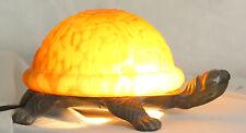 Lampe tortue en bronze et pâte de verre  Style verre français Gallé et autres