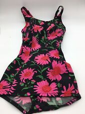 Vintage Catalina Swimsuit Black and Pink Floral Romper Bathing Swim Suit