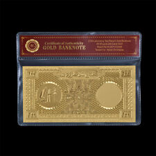 WR 100 Riyals Qatar Gold Banknote Plastic World Bill Note Collecting In Sleeve