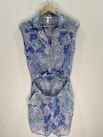 Billabong + Cleo Floral Boho Cotton jumpsuit Romper Size 10 EUC