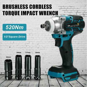 "18V 520Nm Cordless Brushless Torque Impact Wrench 1/2"" Body For Makita Battery"