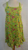 Total Girl Dress XL 14-16 Green Baby Doll Ruffle Hem Hearts