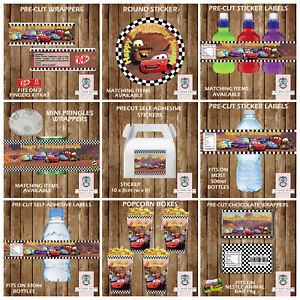 PERSONALISED DISNEY CARS PARTY ITEMS FAVOURS SWEET STICKERS TABLE DECORATIONS