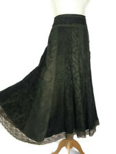 Per Una Brown Patchwork Floral Panel Lace Trim Boho Flared Skirt Size 10