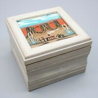 Navajo Native American Indian Charlene Foster Sand Painting Art Wood Trinket Box
