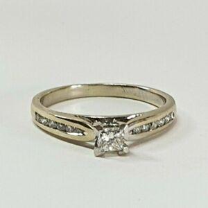 Valuation$1830 Genuine Diamond Ring 18K White Gold
