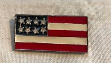 Vintage, Red/White/Blue Enamel and Rhinestone  Flag,Silver tone Pendent, MJ