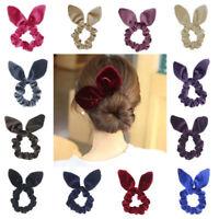 Cute Women Velvet Bowknot Stretch Scrunchies Ears Hair Tie Ponytail Holder