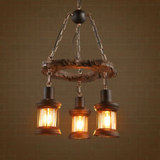 Vinatge Country Wood Chandelier Industrial Barn Kicthen Island Pendant Lighting