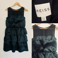 REISS Black Silk Mesh Ruffle Layered Little Black Dress Cocktail Party Size 10