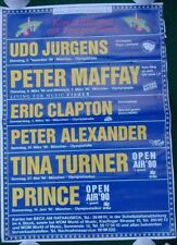 Original Eric Clapton Tina Turner Prince Concert Poster Appearances In Germany