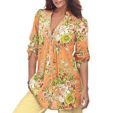 Plus Size Fashion Women's Vintage Floral V-neck Tunic Daily Tops T Shirt Blouse Regular 2xl Grey