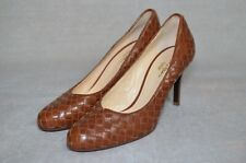 Worn once COLE HAAN Collection brown leather lattice court heels US 8.5B UK 6.5