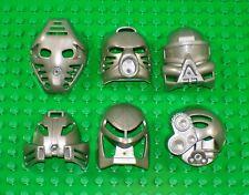 Rare PEARL SILVER - All 6 Original Mata Nui TOA KANOHI - Lego Bionicle Mask Set