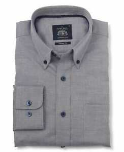 Savile Row Company Navy Herringbone Classic Fit Button-Down Casual Shirt