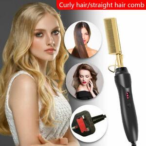 2in1 Hair Straightener Hot Heating Comb Wet Dry Hair Curler Straight Styler