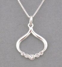 Pendant Necklace 925 Sterling Silver Cubic Zirconia Jewelry NEW