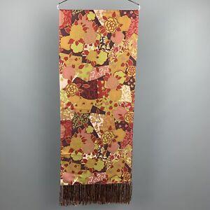 CHARVET Print Olive Multicolor Wool Fringe Scarf