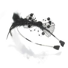 Moliabal Milano Headband- Mesh Bow | Black Beads | Feather Accent