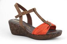 Sandalo in vera pelle Phil Gatier con zeppa media arancio-testa di moro n. 40