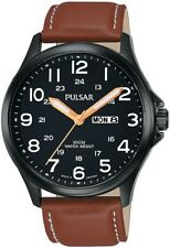 PULSAR PJ6093X1 BIP Military Style Tan Leather Strap Day Date 2Yr Guar RRP £110