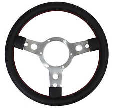 "Springalex Sports Style Steering Wheel 13"" Black Vinyl + Red Stitching CO20-6M"