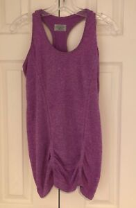 ATHLETA Women's Fastest Track Racer Back Ruched Tank Top- Size M- Pink Heathered