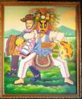Vintage Original Oil Painting Latin American Art Portrait Men Masks Jose Martin
