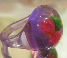 Fun Vintage 50's Confetti Flower Purple Lucite Bubble Ring Size7  277N5