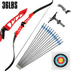 Recurve Bow Set 38LBS Archery Bow Arrow 12PCS Adults Youth Shooting Practice