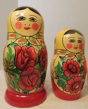 "9 pcs Vintage 9 1/2"" USSR Hand-Painted Traditional Matryoshka Nesting Doll"