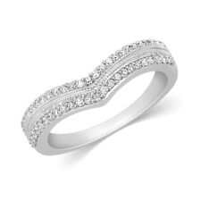 Half Eternity Band Stackable Pave Round Cut Diamond 10K White Gold Wedding Ring