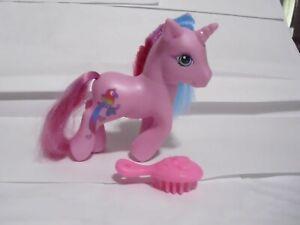 Vintage My Little Pony Pink Unicorn Blue & Pink Hair Parrot on back side 2005 #5