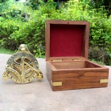 Antique Sundial Marine Compass Maritime With Wooden Box 3 Leg Compass Gift Decor