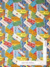 Coast To Coast USA Car License Plate Cotton Fabric Blank Textiles By The Yard