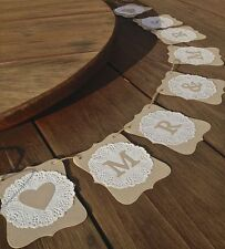 MR & MRS Wedding banner-doilies-decoration -rustic bunting flags/garland - sign