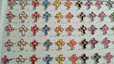 Joblot 50pcs Cross Design Misto Colore Diamante FASHION Rings-NUOVO all' ingrosso