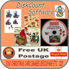 3160 VINTAGE CHRISTMAS IMAGES, GIFT TAGS, DECOUPAGE,  LANDSCAPES & more CD No3