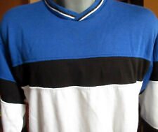 XL True Vtg 80's Blue/Black White Block Acrylic NEW WAVE Sweat Shirt Line-Up